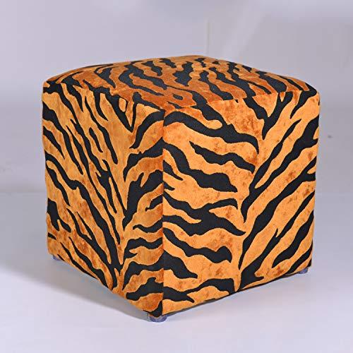 Otomana Vintage,impreso Pequeño Cube Footrest Taburete Suade Sofá Tapizado Taburete De Madera Banco De Zapatos De Cambio Para El Dormitorio De La Sala De Estar-leopardo B 36x36x36cm(14x14x14)