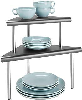 mDesign étagère cuisine à 2 étages – range vaisselle pour coins sur plans de travail et dans les armoires – rangement cuis...