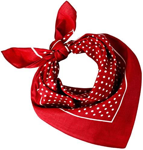 Tobeni 548 Damen Herren Nickituch Kopftuch Bandana Halstuch Baumwolle Unisex Farbe kleine Punkte Rot Grösse 54 cm x 54 cm