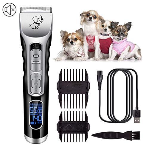 5 snelheden aanpassing en LCD-display, draadloze hondentondeuse-tondeuse Geluidsarme oplaadbare huisdierhaartrimmer, beste scheerapparaat voor honden Katten Huisdieren