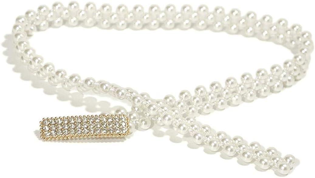 GOMYIE Women Artificial Pearl Waist Chain Rhinestone Buckle Waistband Dress Accessories