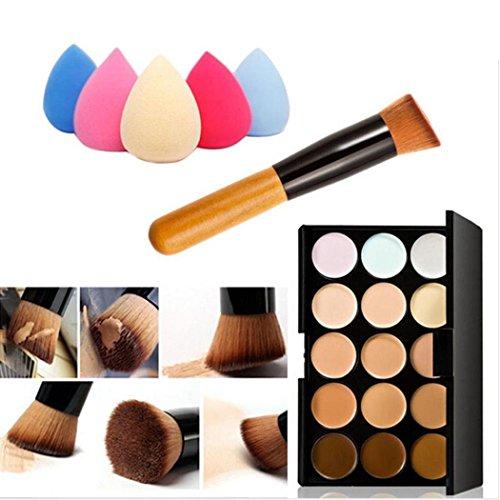 Demarkt Mode Femmes 15 couleur maquillage cosmétique Contour Concealer Palette professionnelle Make Up + Sponge + Concealer