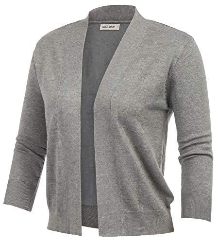 GRACE KARIN Women's 3/4 Sleeve Cardigans Knit Sweaters Cropped Open Front Shrug Bolero Top (Flower Grey,L)