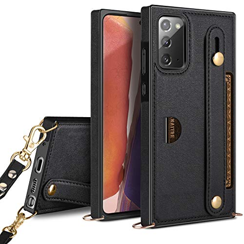 HianDier Compatible with Samsung Galaxy Note 20 5G 6.7-inch Wallet Case Slim Protective Case with Hand Strap Holder Kickstand Lanyard Credit Card Slot Soft PU Leather Square Cover, Black