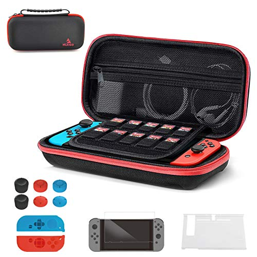 NexiGo 2021 Switch Carrying Case for Nintendo, Compatible with Nintendo Switch Game Storage Accessories, Glass Screen Protector, Joy-Con Silicone Case, Thumb Grips Caps (Black)