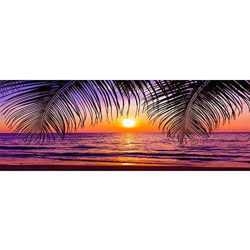 ZHJJD Puesta de Sol Sala de Decoración Marco de la Arte Cuadro Impresión Natural Paisaje Cuadro Moderno Horizontal Mar Playa Cartel Pared Vivir Inicio 50x150cm No Pared
