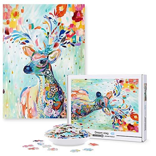 Magicfun Puzzle de 1000 Piezas para Adultos- Venado Sika, Obra de Arte de Juego de Rompecabezas para Adultos, Adolescentes, Rompecabezas de Piso de Impresión de Alta Definición Multicolor (70x50cm)