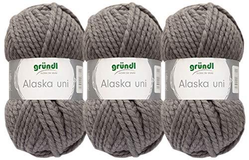 3x100g Gründl Alaska Uni Mützenwolle Schalwolle inkl. 1 Anleitung Funny Bunny (09 Grau)