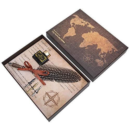 Material de plumas de pollo, juego de bolígrafos de plumas, para caligrafía antigua,(black, Polar Animals)