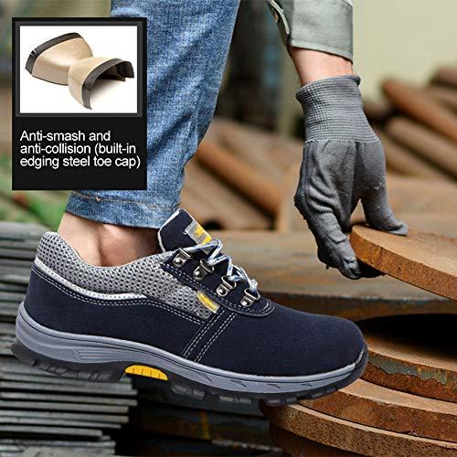 Bozaap Zapatos de Seguridad Zapatos de Trabajo Transpirables para Hombres Zapatos de protección Seguros Rompe Cabezas de Acero Antipinchazos una generación