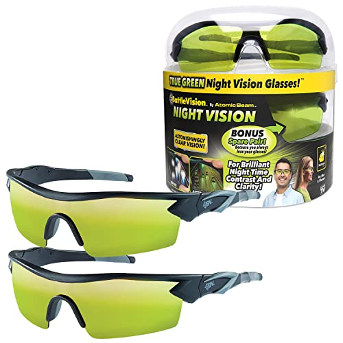 As Seen On TV Battle Vision Night Vision Glasses for Driving by BulbHead - Amazing Night Driving Glasses Protect Eyes From Blinding Headlight Glare -...