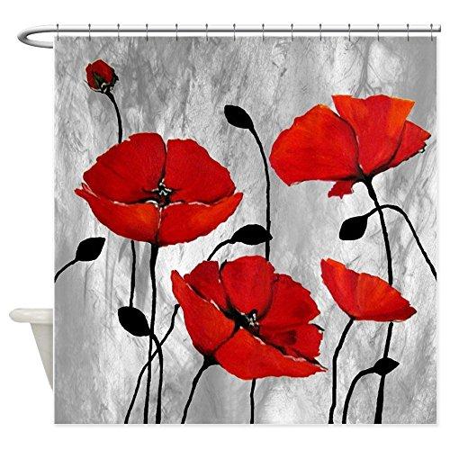 Violetpos Rote Mohnblumen Duschvorhang Badezimmer Dekorative 120 x 180 cm