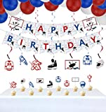 PIXHOTUL Hockey Birthday Party Supplies, Ice Hockey Themed Happy Birthday Banner, 7 Hanging Swirls, 1 Table Cloth, 10 Cake Toppers, 30 Balloons for Kids, Hockey Fans Birthday Party Decorations