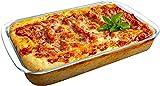 Pirofila per Lasagnere di Vetro 33x23x6cm 3.5L Pirofila Vetro Rettangolare Lasagnera da Forno Teglie per Lasagne da Forno Teglia per Lasagne in Vetro Pirofila per Tiramisu