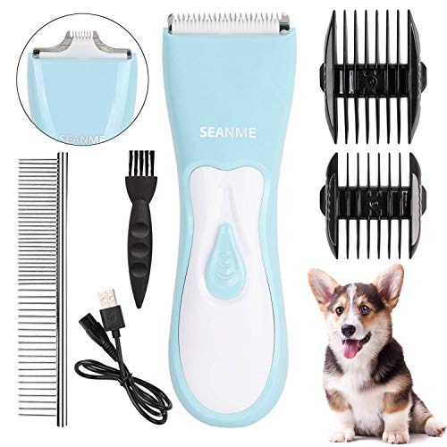 seanme Dog Clippers Washable, 2020 New Upgrade Dog Grooming Clippers Kit with Double Blades Professional Electric Trimmer Set Rechargeable Cat Trimmer Low Noise Shaver for Dogs/Cats