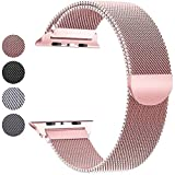 Mediatech Cinturino di ricambio compatibile con Apple Watch 44 mm 42 mm 40 mm 38 mm Cinturino in acciaio inox con chiusura magnetica compatibile con iWatch Series 6/5/4/3/2/1 (40 mm 38 mm, oro rosa)