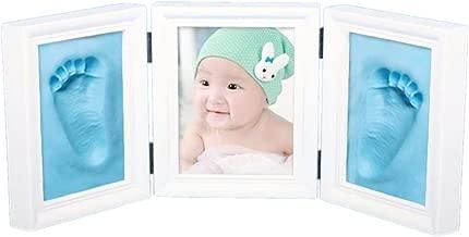 JZK Kit marco madera para manos y huellas para bebés, con arcilla alta calidad, regalo perfecto para recién nacidos (azul arcilla)