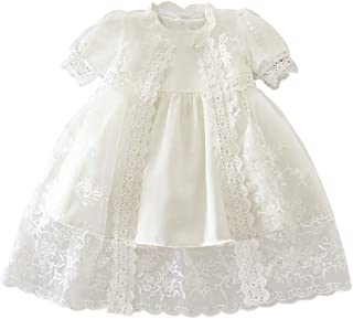 zhxinashu Girl Dress Christening Gown Summer Lace Skirt with Hat Three-Piece Suit
