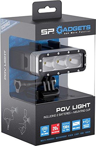 SP GADGETS POV Light 2.0, Unterwasser-Licht LED für GoPro und Actionpro X8, Taucher Video Leuchte, Tauchlampe Scuba Dive Light, 40m Wasserdicht, Max. 600 Lumen