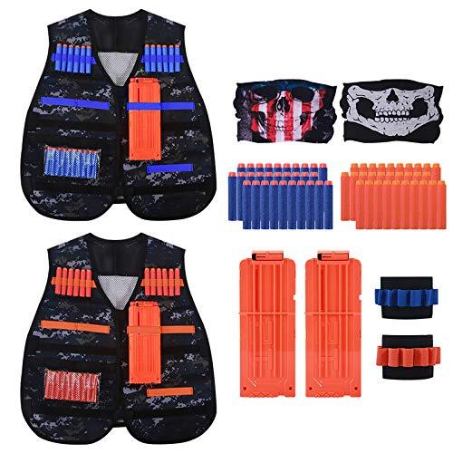 Astory Kids Tactical Vest, 2 Sets Tactical Vest Jacket Kit für Nerf Guns N-Strike Elite-Serie mit 80er Pack Nachfüllpfeilen, 4 Dart Nachladeclips, 2 Armband, 2 Schutzbrille, 2 Schädelmaske