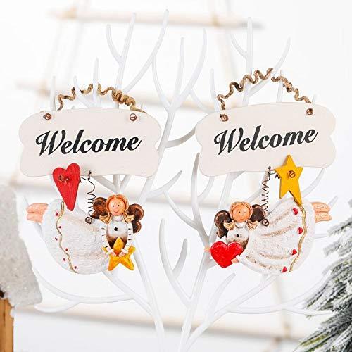 YOKING - Conjunto de 2 piezas de decoración de niña de ángel de Navidad, signos de estrella de corazón colgantes de madera con colgante de árbol