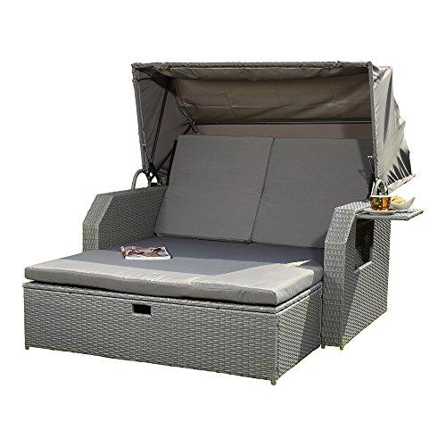 Melko Sonnenbett/Strandkorb/Lounge aus Polyrattan, Grau, inkl. klappbaren Seitentisch +verstellerbarer Rückenlehne + Faltbare Sonnenschutzdach
