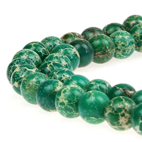 JarTc Natural Stone 6 Colors Sea Sediment Imperial Jasper Round Loose Beads for jewelry Making (10mm, Dark green)