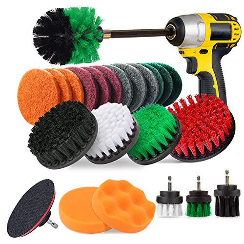 JUSONEY 24 Piece Drill Brush Attachment Set Power Scrubber Kit, Scrub Brush with Extend Long Attachment, Scrubing Pads Cleaning Kit for Tile Sealants, Bathtub, Sinks, Floor, Wheels, Carpet