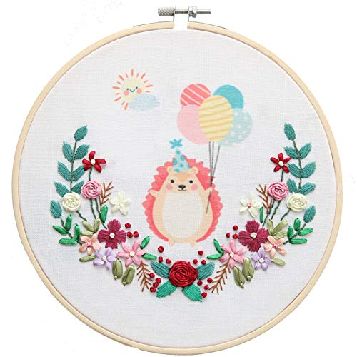 MOMSIV Embroidery Starter Kit for Adult and Kids DIY Including Embroidery Cloth with Pattern, Color Threads, Embroidery Hoop, Cross Stitch Tools (Hedgehog, 7.9in)
