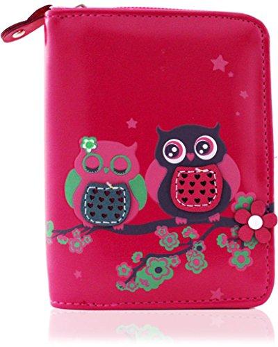 kukubird Owl Family Tree Pattern Medium Size Damen Geldbeutel-Handtasche - 35 FUSCHIA