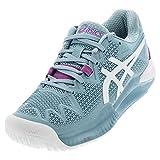 ASICS Women's Gel-Resolution 8 Tennis Shoes, 5, Smoke Blue/White