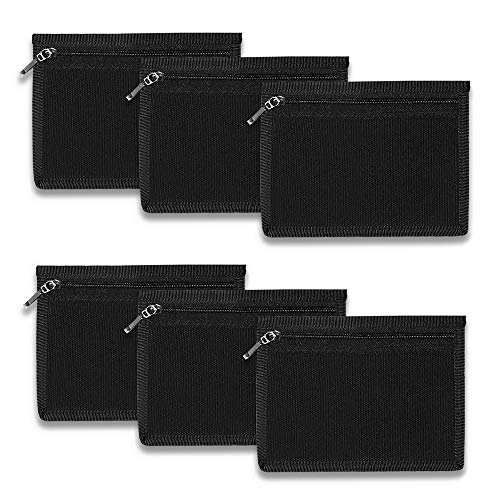 Ezek 6 Pack 16 Oz Cotton Canvas Change Coin Purses 5.5x4.2 inches Small Zipper Pouches Bags, Shopping, Office, Travel, School,Black.