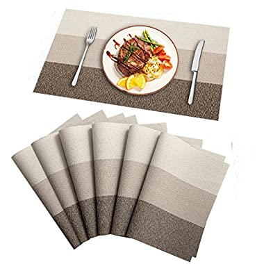 HEBE Table Placemats Set of 6 Heat Resistant Placemat for Dining Table Washable Crossweave Woven Vinyl Kitchen Table Place Mats Easy Clean(Ombre)