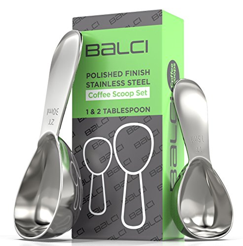 BALCI- Stainless Steel Coffee Scoop Set (1&2 Tablespoon, 15ml and 30ml) EXACT Measuring Spoons for Coffee, Tea, Sugar… 5