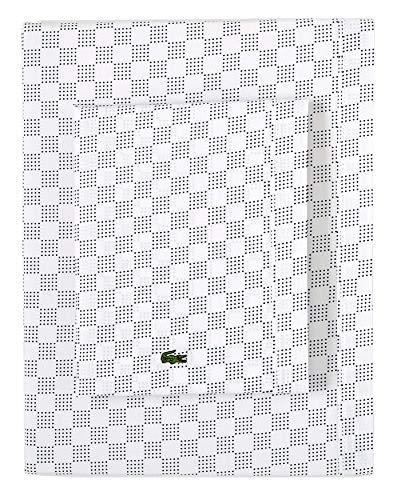 Lacoste Bettlaken-Set aus Perkal-Baumwolle, mit Griffband, Mittelalterblau