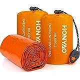 HONYAO Saco de Dormir Emergencia, Mantas Termica de Aluminio, Supervivencia Bivy para Vivac, Cámping, Excursionismo, Trekking - 2 Paquetes