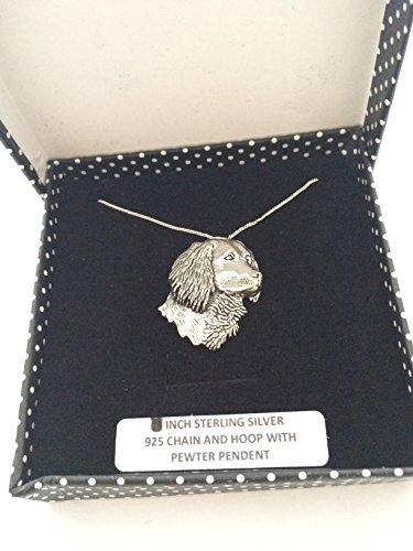Colgante de cabeza de Spaniel's Head de plata de ley 925, hecho a mano, cadena de 50,8 cm, con caja de regalo