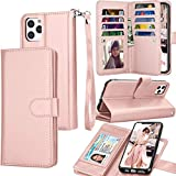 Tekcoo Wallet Case for iPhone 11 / iPhone11 (6.1 inch) 2019 Luxury ID Cash Credit Card Slots Holder Carrying Pouch Folio Flip PU Leather Cover [Detachable Magnetic Hard Case] Lanyard - Rose Gold