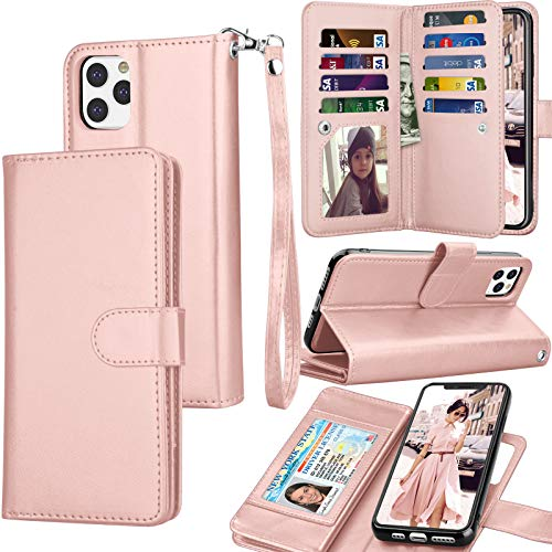 Tekcoo Wallet Case for iPhone 11 Pro / iPhone11 Pro (5.8 inch) 2019 Luxury ID Credit Card Slots Holder Carrying Pouch Folio Flip PU Leather Cover [Detachable Magnetic Hard Case] Lanyard - Rose Gold