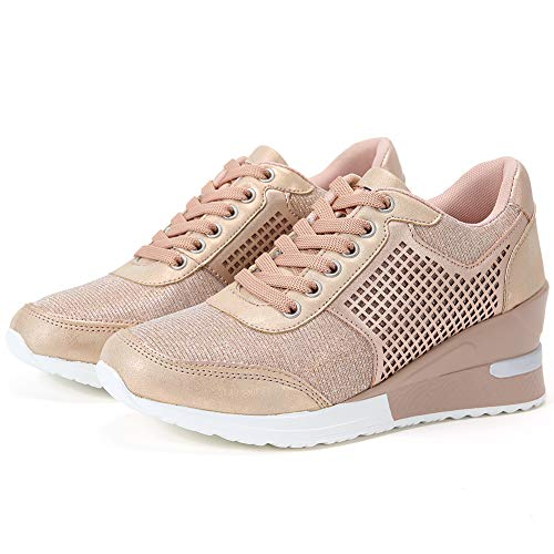 High Heeld Wedge Sneakers for Women - Ladies Hidden Sneakers Lace Up Shoes, Best Chioce for Casual and Daily Wear SM1-PINK-7.5