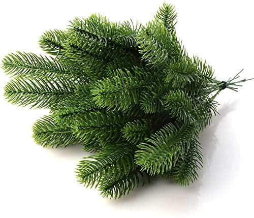 Artificial Pine Branches30/50Pcs Christmas Tree Branches Cedar Pine Branches Plastic Shrubs Greenery Simulation Plant Flower Accessories for Christmas Embellishing Home Garden Decor Props