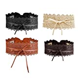 iMixCity 2/4 Paquete Cinturón Ancho Obi Ajustable Cinturón de Cintura de Encaje para Vestidos de Fiesta de Boda (Tamaño Libre, Camello+Oro+Café+Negro)