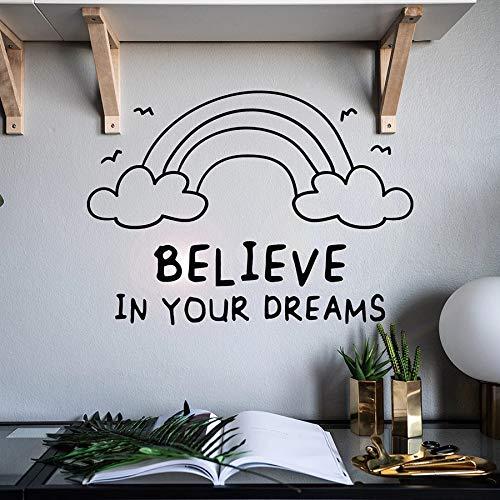 Tianpengyuanshuai wandtattoos inspirerend citaat gelooft je droomregenboog vinyl stickers slaapkamer decoratie belettering woord muurschildering