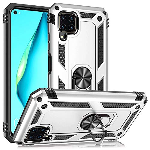 NALIA Ring Handyhülle kompatibel mit Huawei P40 Lite Hülle, Kratzfeste Schutzhülle mit 360° Finger-Halter, Dünnes Silikon TPU Cover Innen und Hardcase, Hülle für magnetische KFZ-Halterung, Farbe:Silber