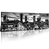 sunfrower - Atlanta Georgia Skyline Decor Wall Art Canvas Black and White Ferris Wheel Building Cityscape Panoramic Print Painting Urban Landscape Picture Modern Home Framed Decoration 12' x 36' x1