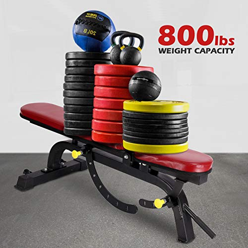 ER KANG Adjustable Weight Bench- 7+4 Positions Body Workout Bench, Multi-Purpose Incline/Flat Bench for Home Gym Strength Training(Red)