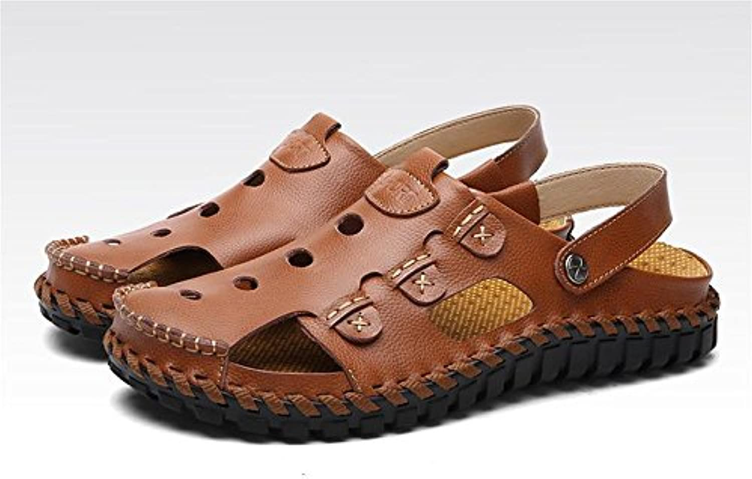 W&XY Men outdoor beach sandals leather open toe fisherman swimming pool sandals