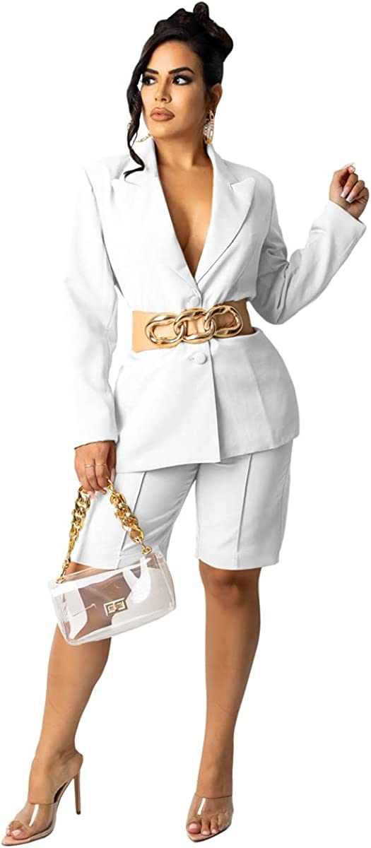 Pulkritu Women Knee-Length Pants Suit - Office Lady Blazer Tops and Pants Matching Two 2 Piece Set Outfits (M,White)