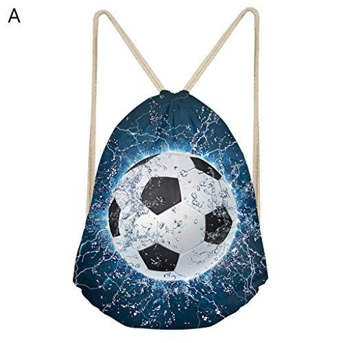 RYOR Sport-Rucksack mit Kordelzug aus Polyester mit Fußball- und Tennis-Aufdruck (in verschiedenen Farben erhältlich) a