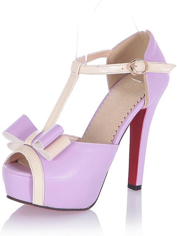 BalaMasa Womens Buckle High-Heels Soft Material Sandals